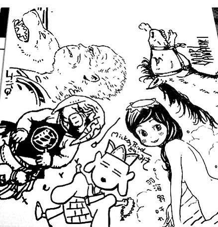(某居酒屋で、谷口ジロー、寺田克也、とり・みき、羽海野チカ、そして私で描いた孫悟空。かつて、このメンツで何度かご飯を食べたり飲んだりしていたのでした) Songoku kartoon drawn by late Taniguchi Jiro, Tori Miki, Umino Chika, Yamazaki Mari, and Terada Katsuya)