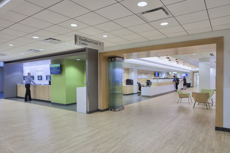 A glass partition allows visitors to see inside the Oakton Community College Enrollment Center even when it is closed.