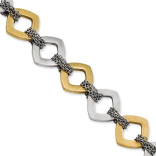 Women's Two Tone Gold Stainless Steel Bracelet Jewelry Available Exclusively at Gemologica.com