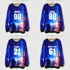 "Fabric material:cotton blend Color:galaxy blue Style:EXO,LAY-10,XIUMIN-99,KAI-88,CHEN-21,DO-12,SUHO-1,SEHUN-94,TAO-68,CHANYEOL-61,BAEKHYUN-4,KRIS-00,LUHAN-7,HELLO! Size: one size Bust:110cm/43.30"" Sho"