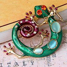 Mode bohemen 2015 strass pin groene slang natuursteen gekko broche hete- groothandel charmes sieraden voor vrouwen te- 5.99xz001(China (Mainland))