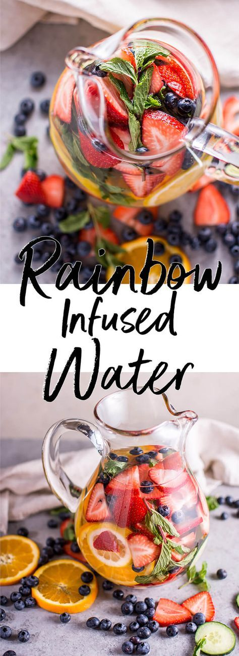This rainbow infused water is refreshing, healthy, and much better tasting than unflavored water! Prep a big pitcher in less than 10 minutes.