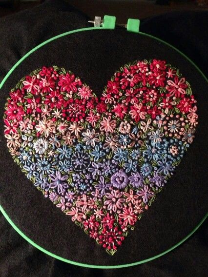 Beautiful hand embroidery!! Heart, Lazy Daisy stitches, & the classic French knot! Love!