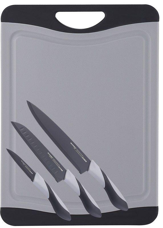 Messenset met snijbord  Set bestaat uit      -3 roestvrij stalen messen (8,9-17,8-20,3cm) met een non-stick coating      -kunststof anti-bacteriëel snijbord.   .Afmeting: 43,5x29x1cm. Wordt geleverd in de kleur:      GRIJS