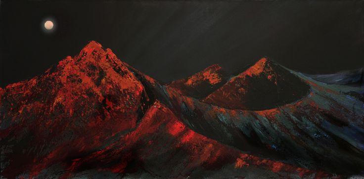 Harvest moon  by Scottish contemporary landscape painter J Mackintosh