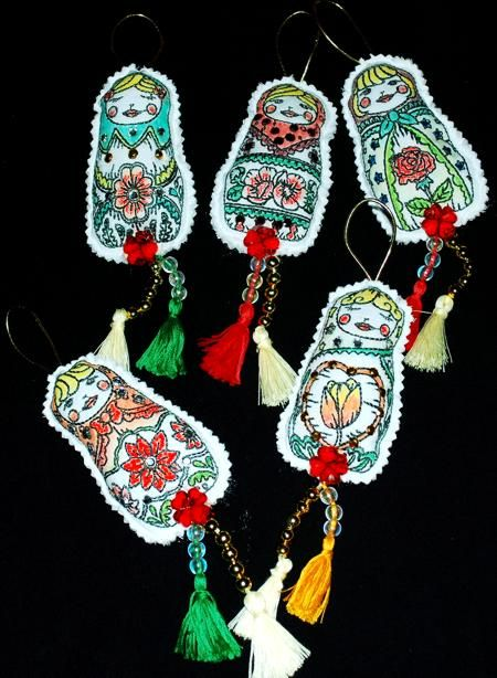 Advanced Embroidery Designs. Free Projects and Ideas. Bookmarks and tree ornaments with redwork Matreshka embroidery.