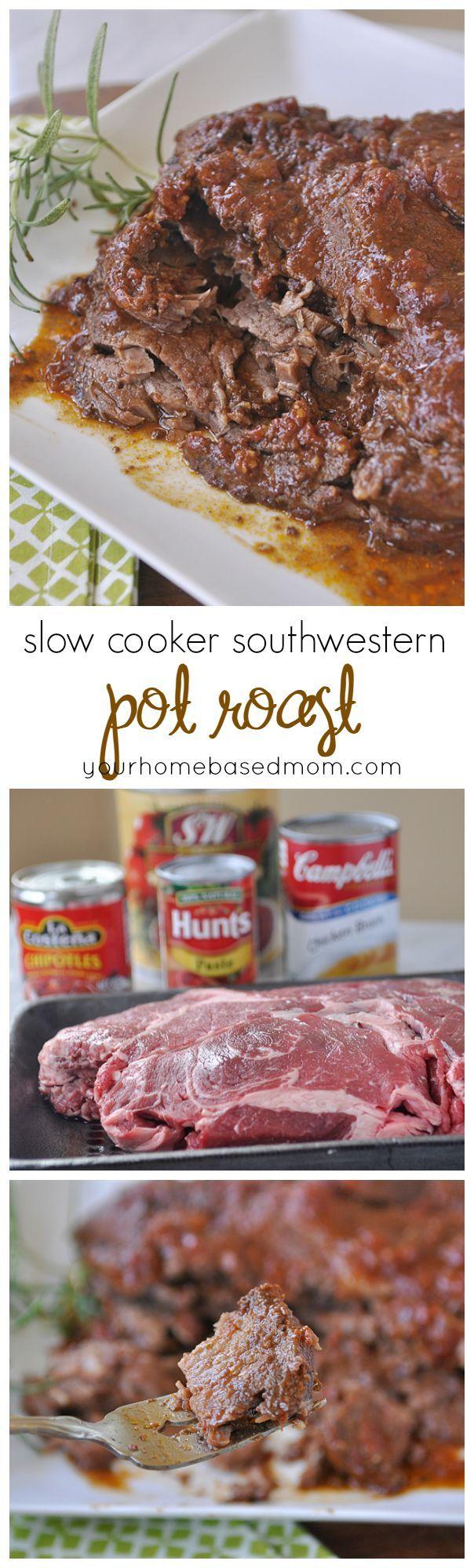 Slow Cooker Southwestern Pot Roast is the best pot roast! Great family dinner recipe.