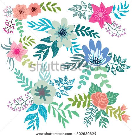 Vector set of floral compositions in gentle colors.