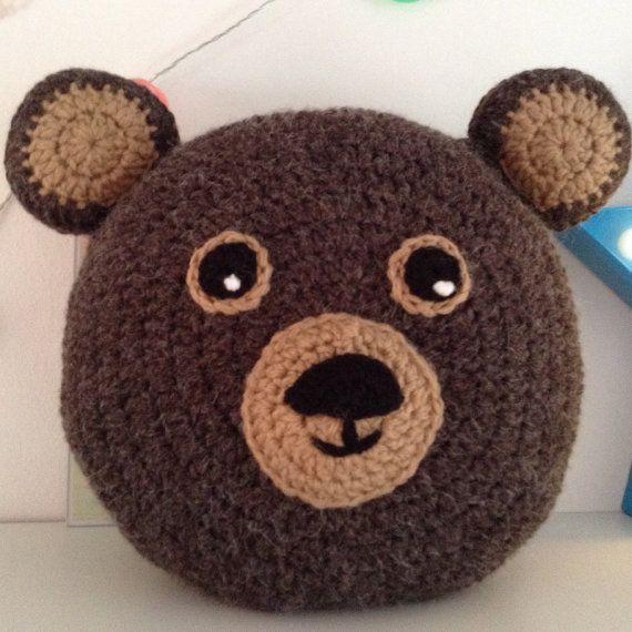 Bear Pillow Bear Cushion Decorative Pillow Crochet by Daisymooo