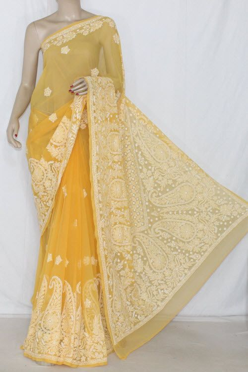Golden Yellow Hand Embroidered Lucknowi Chikankari Saree (With Blouse - Georgette)Rich Border & Pallu Work 14392