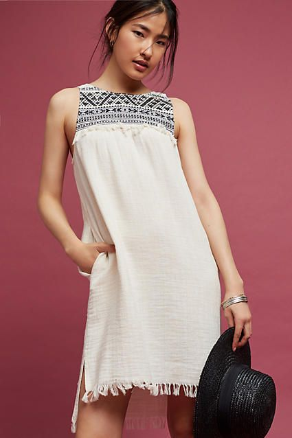 DREW Embroidered & Fringed Tunic Dress