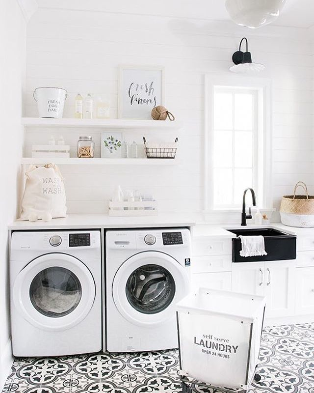 So bright & organized! | Designed by Monika Hibbs @monikahibbs #monikahibbs #interiordesign #laundryrooms