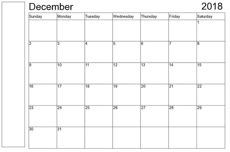 December 2018 Printable Calendar December 2018 printable Calendar