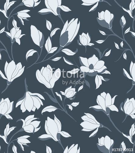 Vektor: Floral Seamless Pattern #pattern #magnolia #floral #design #seamless #wallpaper #decorative #vector #flower #graphic