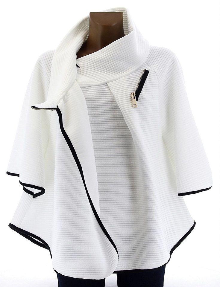 Charleselie94 - Cape Veste Manteau Ample Grande Taille 38/54 - MATILDA - Femme - CharlesElie94 - Blanc 50: Amazon.fr: Vêtements et accessoires