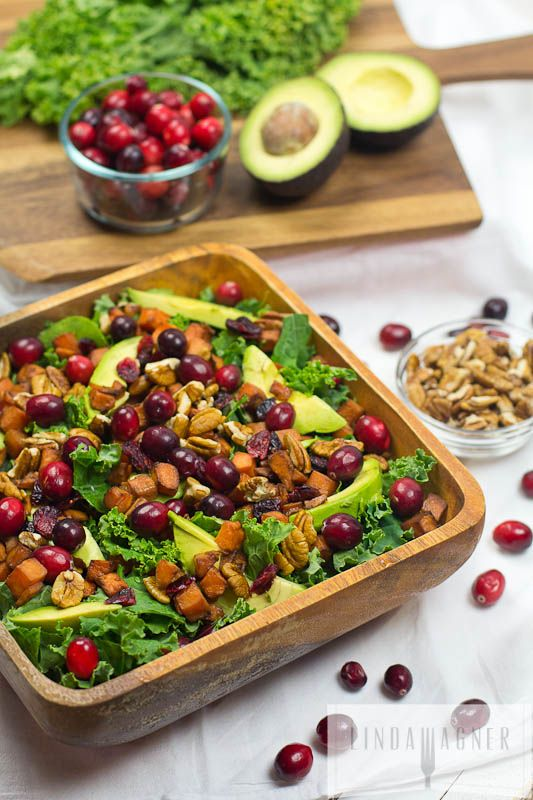 Hearty Kale, Cranberry & Pecan Salad with Sweet Potatoes - hearty enough as a meal and pretty enough for your holiday table!