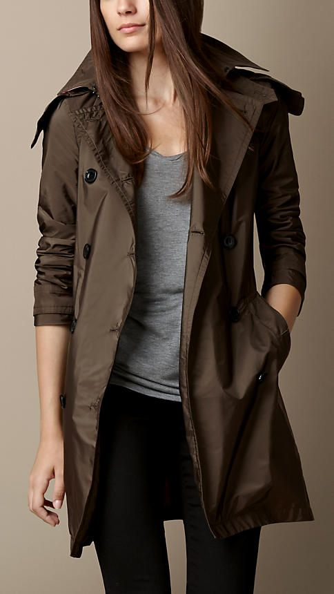 Military olive Lightweight Trench Coat with Detachable Hood - Image 1