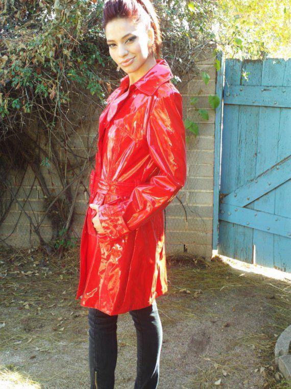 Vintage Vinyl Raincoat for Women | Vintage Killer RED Vinyl RAINCOAT Spy Jacket Super Sexy Coat Trench