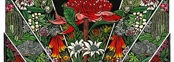 ブルーMountiansワイルドフラワー - ファインアートリノリウム版画//Lynette Weir
