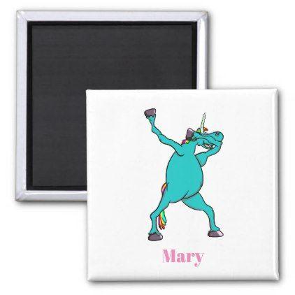 Funny Unicorn Dabbing Dance Magnet - horse animal horses riding freedom