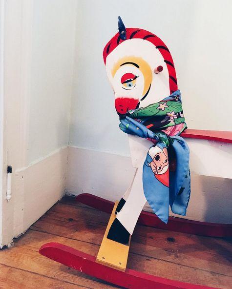 Vintage Rocking Horse and Karen Mabon Gnomes Silk Scarf