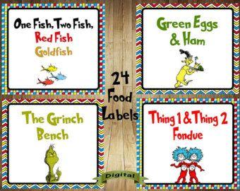 Dr. Seuss Food Labels Large Set of 35 Dr by AmpersandCreations