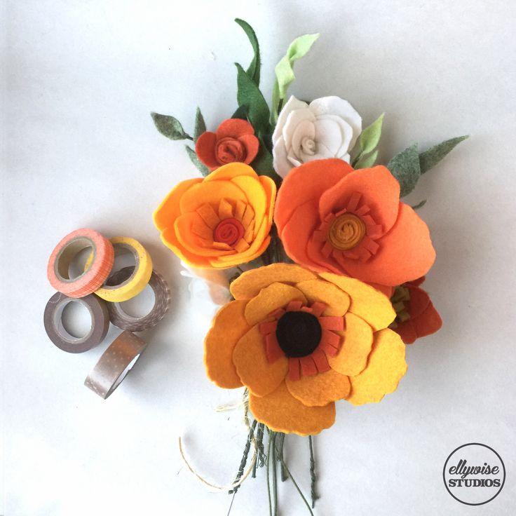 Sunny bright orange rehearsal bouquet Ellywise Studios felt flowers memphis wedding
