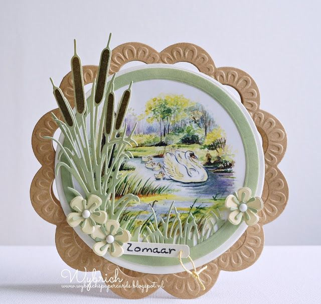 Handmade card by DT member Wybrich with Creatables Tiny's Cattails (LR0409), Frame Circle (LR0112), Craftables Basic Round (CR1331), Grass (CR1355) and Flower Set - Fancy (CR1356) from Marianne Design