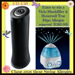 Honeywell True Hepa Allergen Remover and Vick's Humidifier Ends 3/29 http://mommysmemorandum.com/honeywell-true-hepa-allergen-remover-vicks-humidifier-giveaway-ends-329/