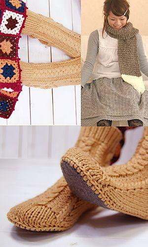 Ravelry: Aran Room Shoes pattern by Pierrot (Gosyo Co., Ltd)