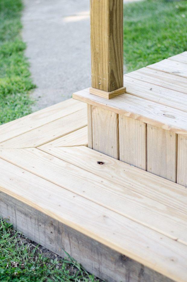 porch makeover step - Wraparound step idea for front porch steps....