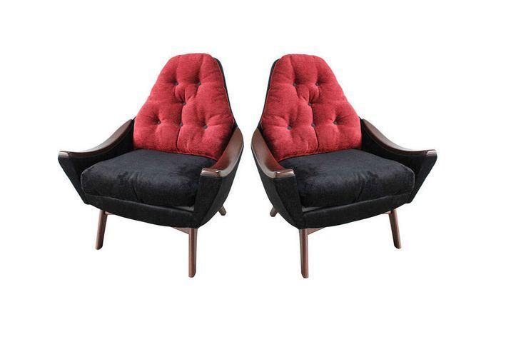 Дизайн который я обожаю - 1950-е, весь мир стремится в космос. В одежде, интерьере применяются новые технологии и футуристические объемы. мебель того времени просто восхитительна! 2 кресла от Adrian Pearsall, орех, обивка из бархата.