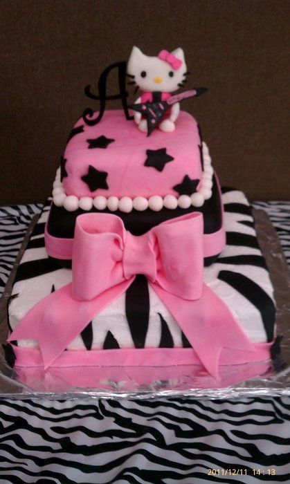 hello kitty cake!  Already has an A on it!
