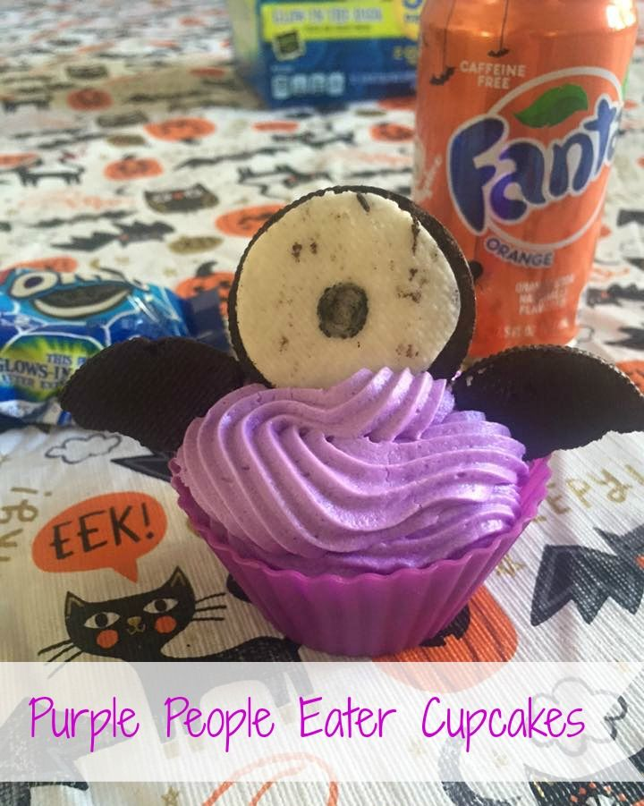 purple people eater cupcakes featuring fanta and oreo cookies from
