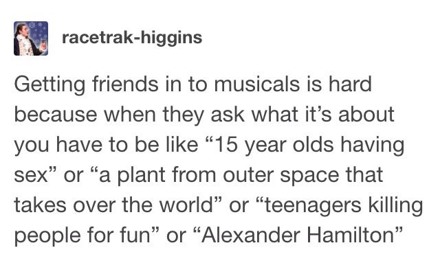 ok lets see... I'm not sure on the first one but i think Fun Home, Little Shop of Horrors, Heathers, and yours truly, Hamilton.