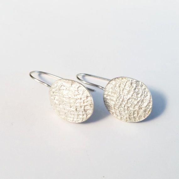 Silver textured Earings. Women's drop earrings. by HotchKarat