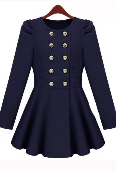 Gossip Girl Double Button Blue Coat Made of Poly Cotton, Wool and