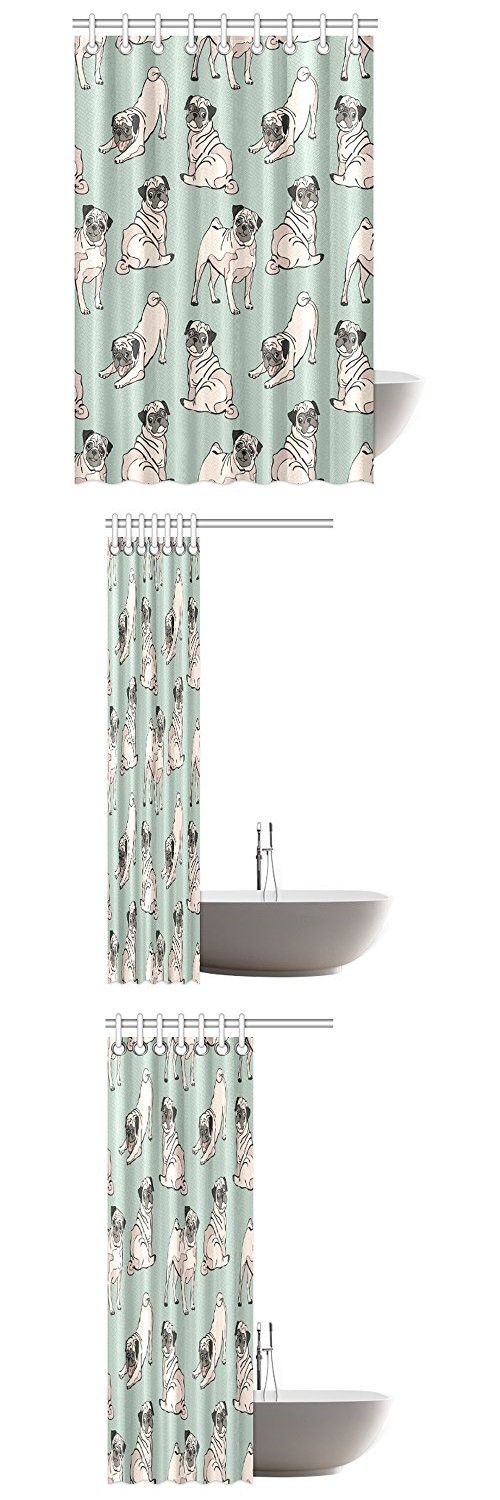 InterestPrint Dog Lover Decor Shower Curtain, Cute Funny Vintage Animal Decor Pug Dog Puppy Adorable Polyester Fabric Bathroom Shower Curtain Set with Hooks, 48 By 72 Inches