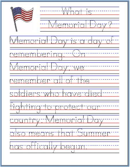 memorial day handwriting worksheet free printable improving handwriting pinterest. Black Bedroom Furniture Sets. Home Design Ideas