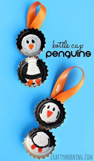 Bottle Cap Penguin Craft for Kids (Christmas Ornament Idea) | CraftyMorning.com
