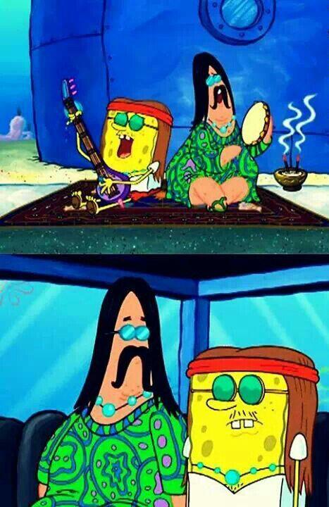 Hippy Patrick and Spongebob , film , tv show , tv , sea , ocean , fish