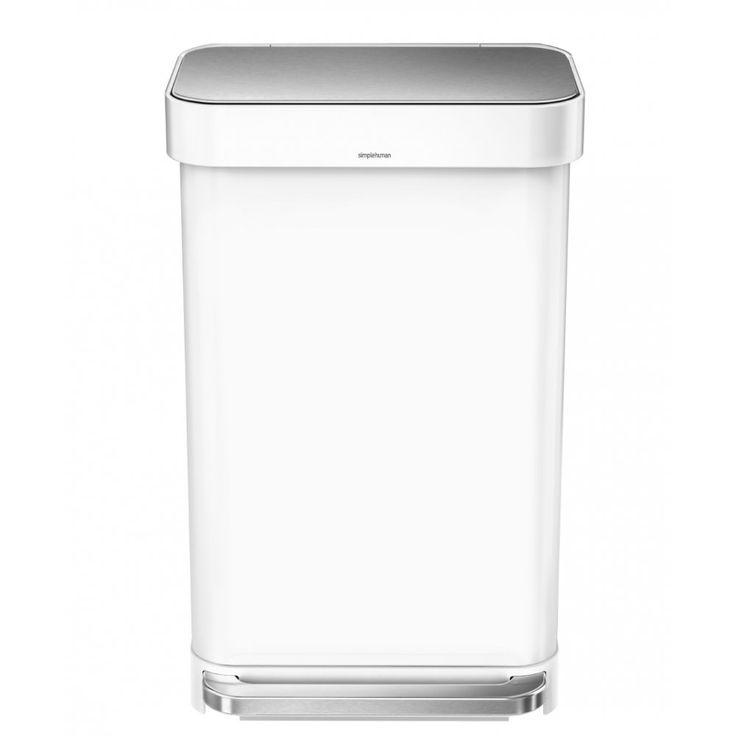 Simplehuman Liner Pocket Pedal Bin 45L - White Steel - CW2027 - Binopolis