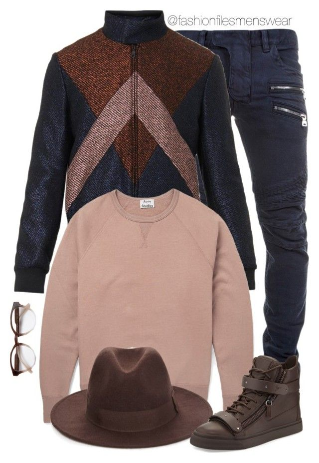 """Menswear fall look"" by highfashionfiles ❤ liked on Polyvore featuring Balmain, Kenzo, Acne Studios, 21 Men, STELLA McCARTNEY, Giuseppe Zanotti, women's clothing, women, female and woman"