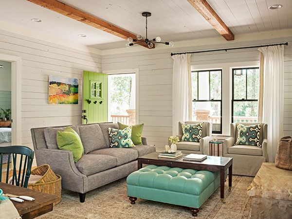Come on in! No space is wasted on an entryway in the family room, where shiplap paneling and decorative red-cedar beams set the rustic cottage tone. See more of this room online tomorrow at http://www.thisoldhouse.com/ideahouse2015. Photo: Deborah Whitlaw Llewellyn
