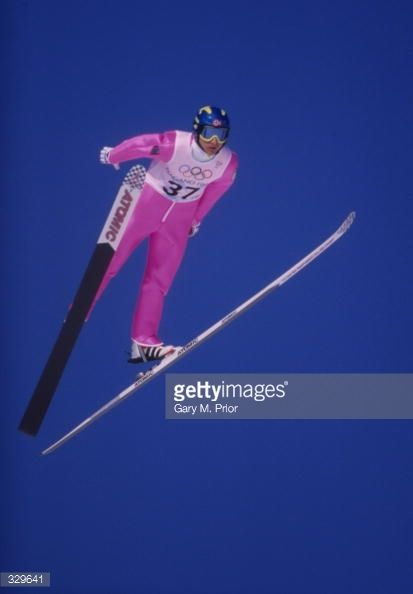 Espen Bredesen of Norway takes a jump during the K90 ski jump in Hakuba during the 1998 Winter Olympic Games in Nagano Japan