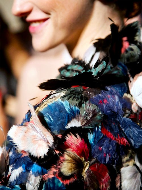 """Detail of the""""Madame Butterfly"""" feather cape at Valentino Haute Couture took 550 hours to fabricate."""