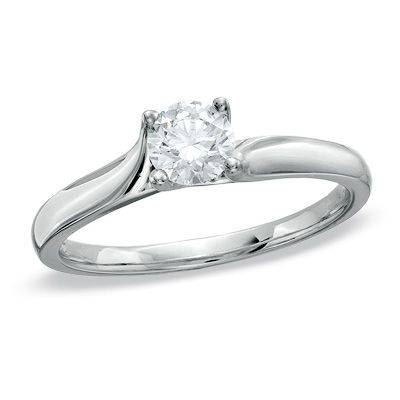 1/2 CT. Certified Diamond Solitaire Engagement Ring in 14K White Gold (I/SI2) - View All Rings - Zales