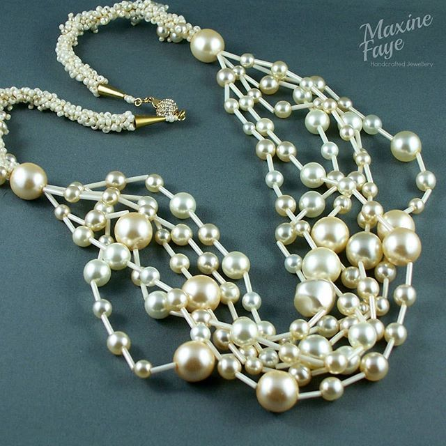 Glass pearl and braided and embellished necklace with crystal clasp.  https://www.maxinefaye.com.au/product-category/necklaces/