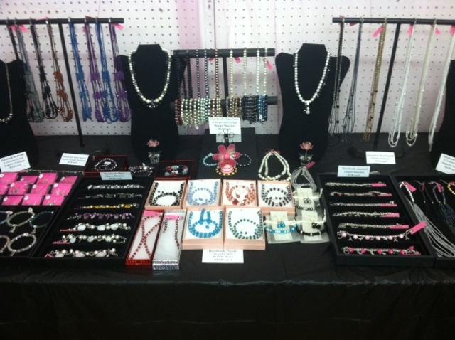 crystal and glass pearl jewelry inside my booth at the