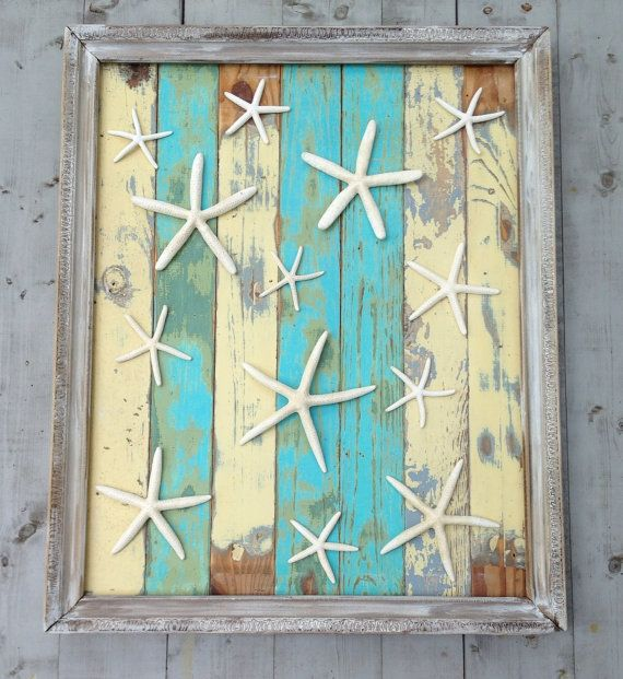 framed reclaimed wood starfish artbeach art